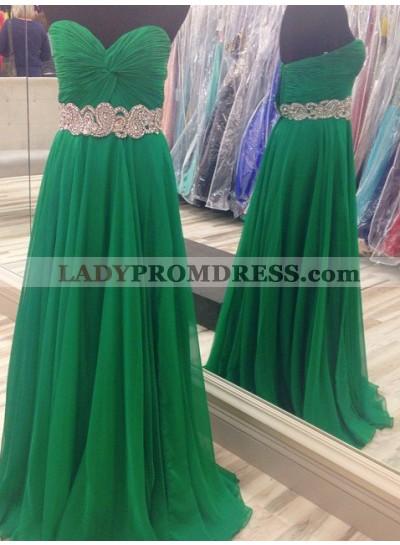 Ruching Beading Sweetheart Chiffon Prom Dresses