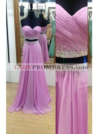 Sexy A-Line/Princess Two Pieces Chiffon Prom Dresses