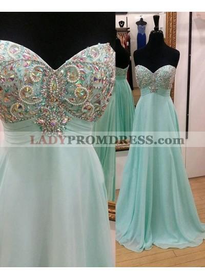 Beading LadyPromDress 2018 Blue Empire Waist A-Line/Princess Chiffon Prom Dresses