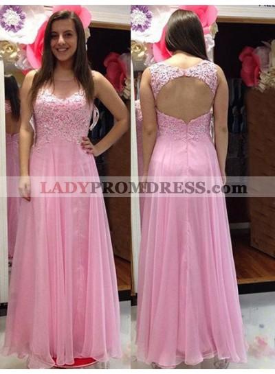 Beading Appliques Backless Chiffon 2018 Glamorous Pink Prom Dresses