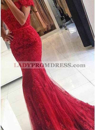 2019 Gorgeous Red Sexy Appliques Mermaid/Trumpet Tulle Prom Dresses