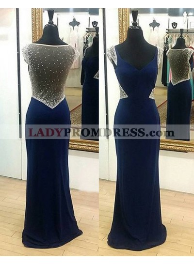 LadyPromDress 2018 Blue Beading Sheer Back Column/Sheath Stretch Satin Prom Dresses