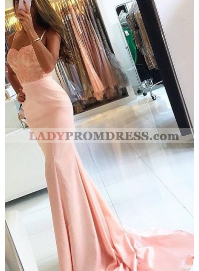 Prom Dresses Spaghetti Straps Mermaid/Trumpet Stretch Satin