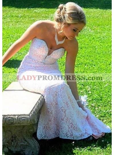 2019 Unique White Sweetheart Lace Mermaid/Trumpet Prom Dresses