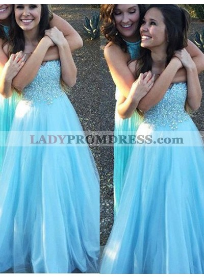 LadyPromDress 2019 Blue Prom Dresses Sweetheart Crystal A-Line/Princess Tulle