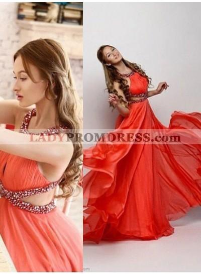 2019 Gorgeous Red Halter Beading Criss Cross A-Line/Princess Chiffon Prom Dresses