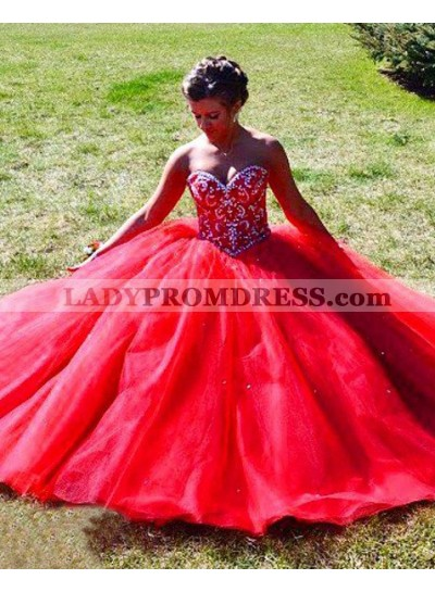 2018 Gorgeous Red Beading Sweetheart Ball Gown Tulle Prom Dresses