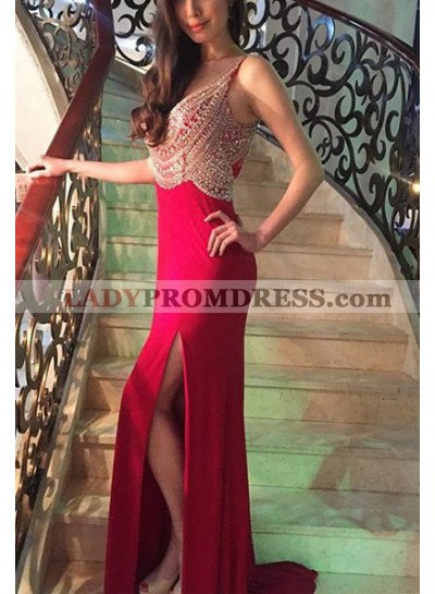 2019 Gorgeous Red Beading Straps Side-Slit Satin Prom Dresses