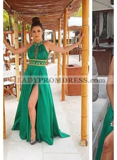 Beading Halter Empire Waist Satin Prom Dresses