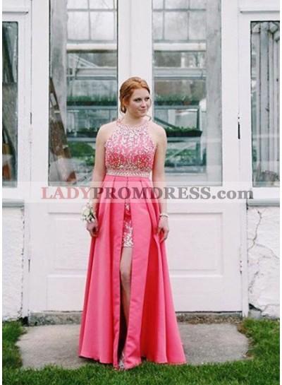 Appliques Halter Front-Slit Satin 2018 Glamorous Pink Prom Dresses
