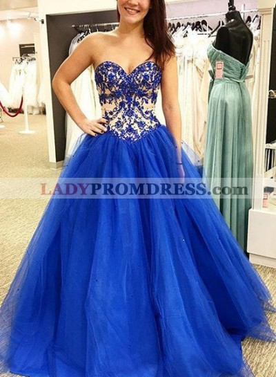 Royal Blue Prom Dresses Sweetheart Appliques A-Line/Princess Tulle