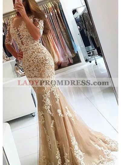 Round Neck Appliques Mermaid/Trumpet Tulle Prom Dresses