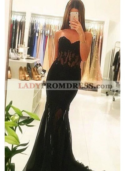 2019 Junoesque Black Sexy Sweetheart Sweep Train Mermaid/Trumpet Tulle Prom Dresses
