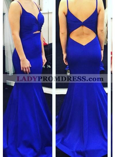 LadyPromDress 2018 Blue Prom Dresses Spaghetti Straps Mermaid/Trumpet Satin