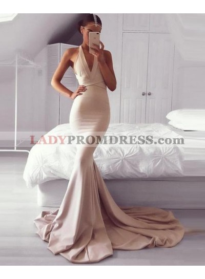 2020 Halter Nude Mermaid Sweep Train Prom Dresses