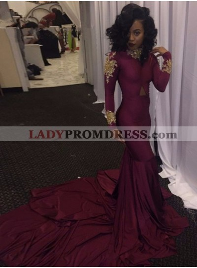 2020 Burgundy Long Sleeves Mermaid Sweep Train Prom Dresses
