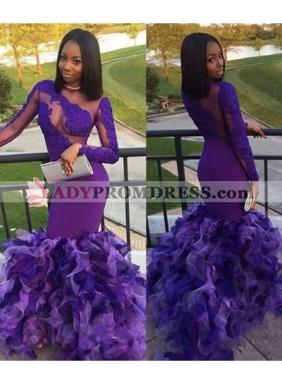2019 Elegant Long Sleeves Lilac Mermaid Prom Dresses