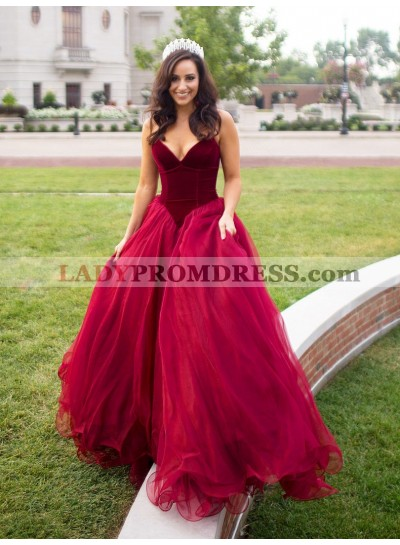 2021 Ball Gown Prom Dresses Red Organza Sweetheart