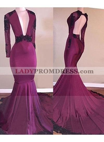 2021 Fuchsia Deep V Long Sleeves Mermaid Prom Dresses