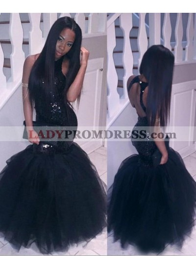 2020 Halter Backless Black Mermaid Sequins Prom Dresses