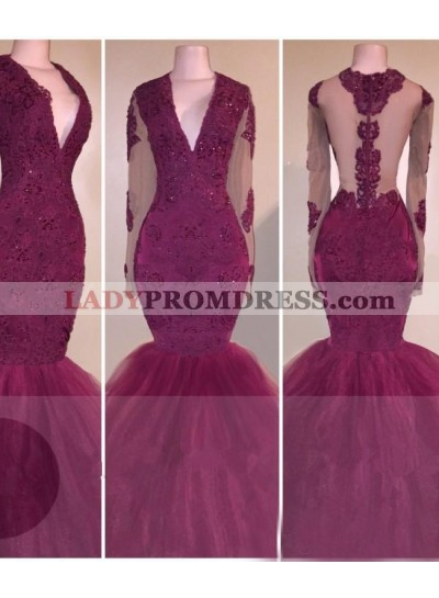 2018 Long Sleeves V-neck Appliques Burgundy Prom Dresses