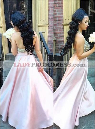 Beading Halter A-Line/Princess Satin Prom Dresses