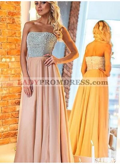 Prom Dresses Strapless Beading Backless A-Line/Princess Chiffon