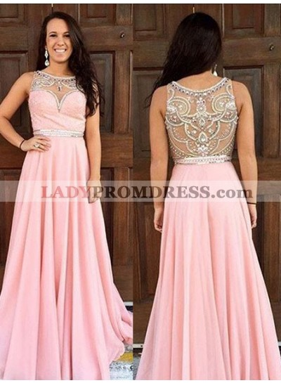 Prom Dresses 2018 Glamorous Pink Round Neck Crystal Sleeveless A-Line/Princess Chiffon