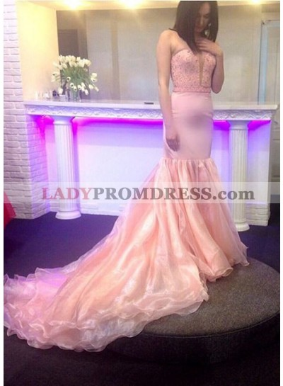 Prom Dresses Strapless Backless Mermaid/Trumpet Organza