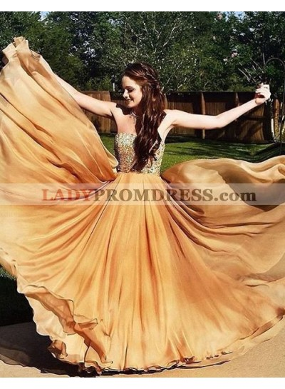 Sweetheart Crystal Layers A-Line/Princess Chiffon Champagne Prom Dresses