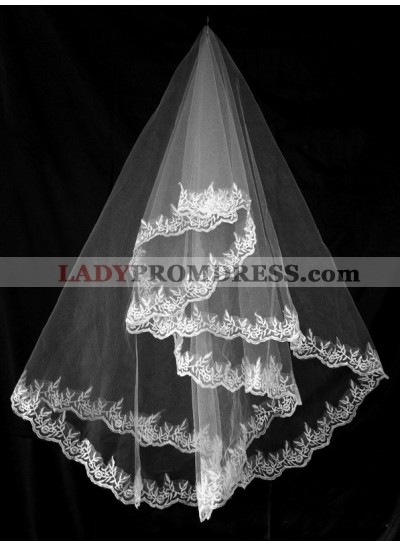 Very Delicate Elbow Wedding Veil With Embroidery