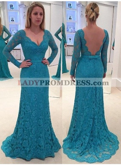 LadyPromDress 2019 Blue Scalloped Long Sleeve Backless Lace Prom Dresses
