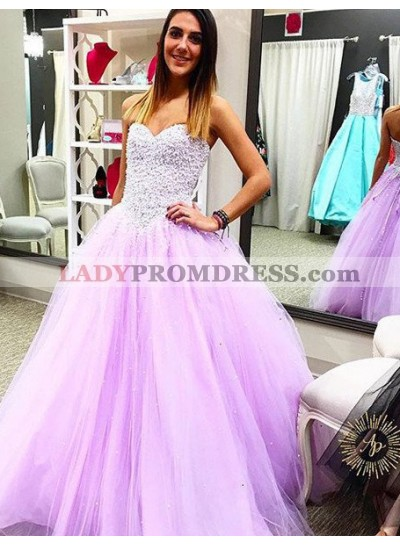 Lilac Prom Dresses Sleeveless Lace Up A-Line/Princess Tulle
