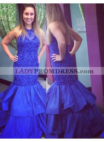 LadyPromDress 2019 Blue Appliques Halter Mermaid/Trumpet Taffeta Prom Dresses