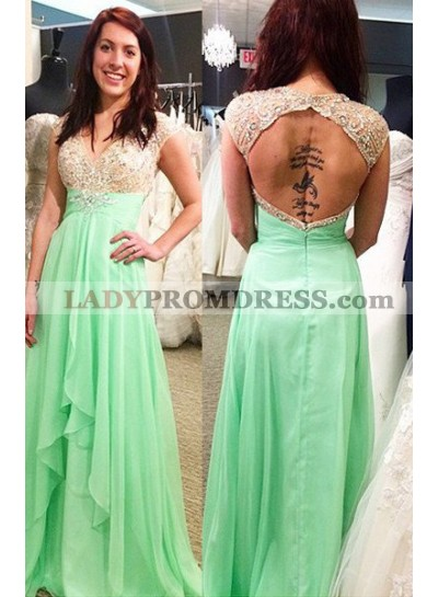 V-Neck Capped Sleeves A-Line/Princess Chiffon Sage Green Prom Dresses