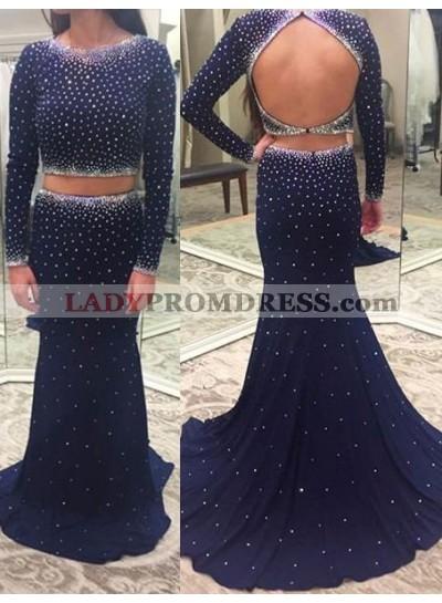 Navy Blue Polka Dot Mermaid/Trumpet Stretch Satin Two Pieces Prom Dresses