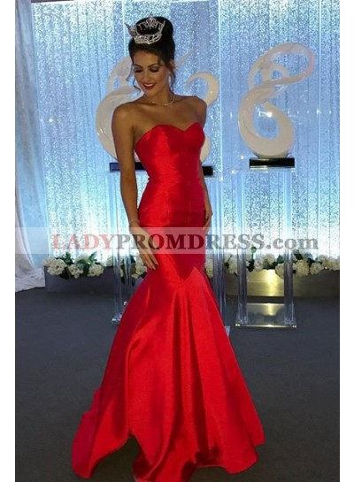 2019 Gorgeous Red Sexy Sweetheart Mermaid/Trumpet Satin Prom Dresses