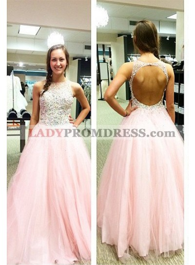 Beading Backless Ball Gown Tulle Prom Dresses 2019 Glamorous Pink