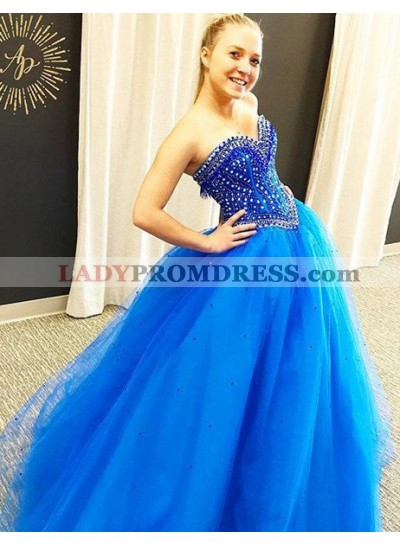 LadyPromDress 2019 Blue Prom Dresses Sweetheart Ball Gown Tulle