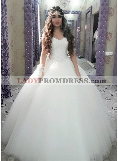 2021 Cheap Sweetheart Tulle With Beaded Ball Gown Wedding Dresses