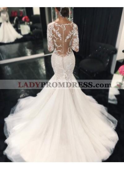Sexy Mermaid Long Sleeves Sweetheart 2019 Wedding Dresses