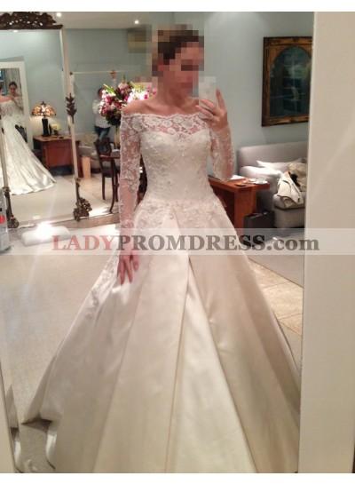 2021 Elegant A Line Satin Off The Shoulder Long Sleeves Wedding Dresses