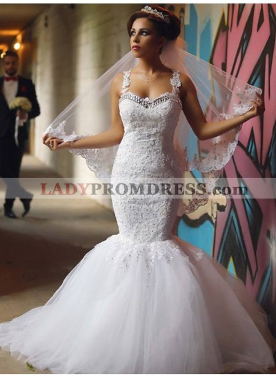 2021 Sexy Mermaid Sweetheart Tulle With Appliques Beaded Wedding Dresses