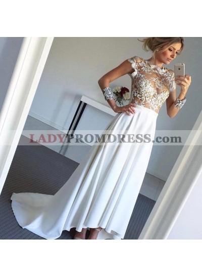 A Line High Low Satin See Through 2020 Wedding Dresses