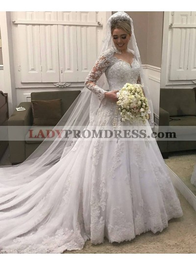 2020 Classic A Line Long Sleeves Sweetheart With Long Train Wedding Dresses