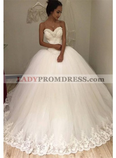 2021 Gorgeous Sweetheart Tulle With Lace Trim Ball Gown Wedding Dresses