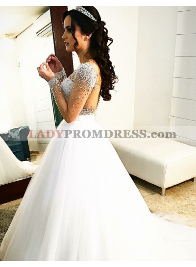 2020 New A Line Sweetheart Long Sleeves With Beads Wedding Dresses