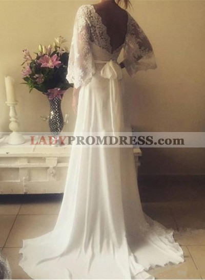 2021 Cheap A Line V Neck Lace Sleeves Back Bowknot Wedding Dresses