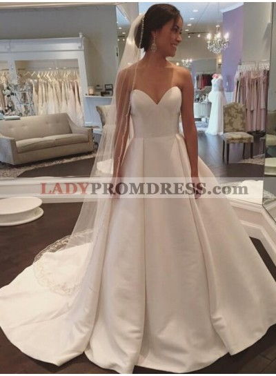 2021 Simple A Line Sweetheart Satin Plain Wedding Dresses