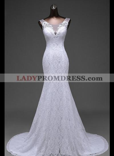 2021 Mermaid White Scoop Lace Wedding Dresses